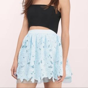 Tobi blue lace skirt